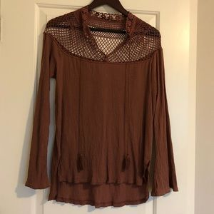 Free People Netted Crochet Blouse